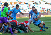Ruan Steenkamp of the Vodacom Blue Bulls on his way to score his second try during the Currie Cup match between Vodacom Blue Bulls and Xerox Golden Lions XV at Loftus Versfeld on September 01, 2018 in Pretoria, South Africa.