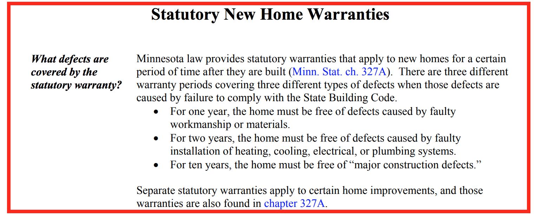 Statutory new home warranties