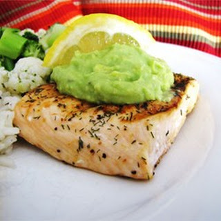 Grilled Salmon with Avocado Dip.