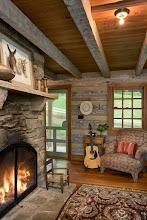 Photo: Interior, vertical, living room fireplace vignette, Giles residence, Dandridge, Tennessee; Hearthstone Homes