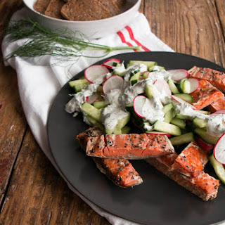Smoked Salmon with Dilly Cucumber and Radish Salad
