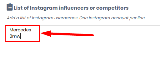list of Instagram influencers or competitors to Scrape Instagram