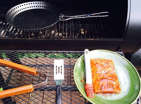 Grill salmon 5 to 7 minutes on each side.  Depending upon thickness.