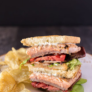 Salmon BLT with Chive Mayo.