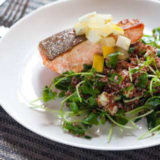 Seared Salmon & Preserved Lemon with Red Quinoa & Pea Shoots.