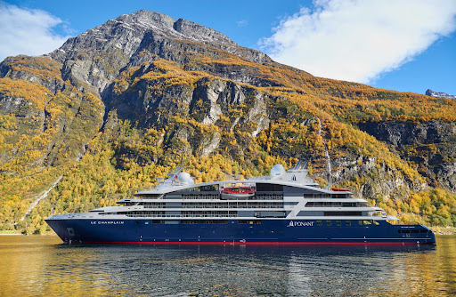 Le-Champlain-moored.jpg - The 184-guest Le Champlain from Ponant during an autumn sailing.