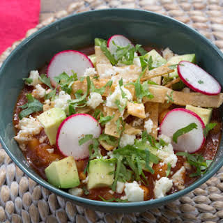 Tortilla Soup with Hominy & Queso Fresco.