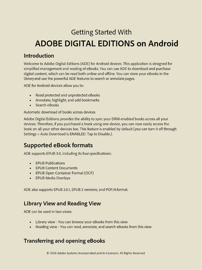 Adobe Digital Editions- หน้าจอ