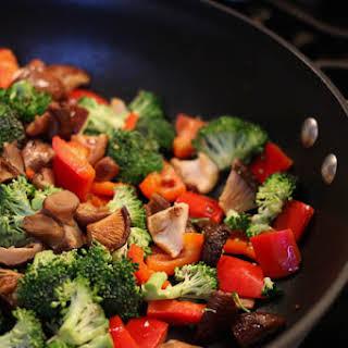 Colorful Broccoli, Mushroom Chicken Stir-fry with Wild Rice.