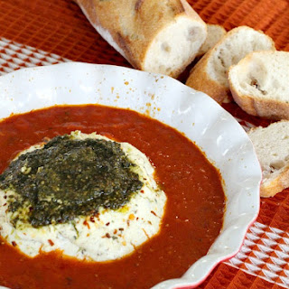 Three Cheese Appetizer with Pesto in Marinara