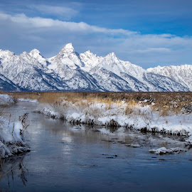 TETONS by Dana Johnson - Landscapes Mountains & Hills ( mountains, grand tetons, winter, river, wyoming, landscape )