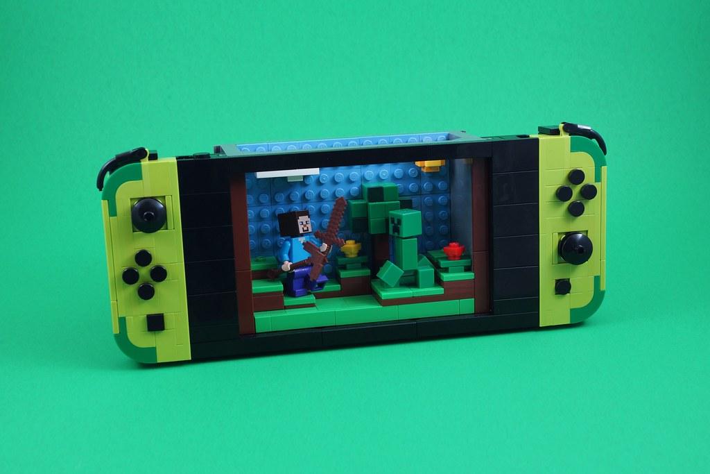 Nintendo Switch with Minecraft made of LEGO blocks