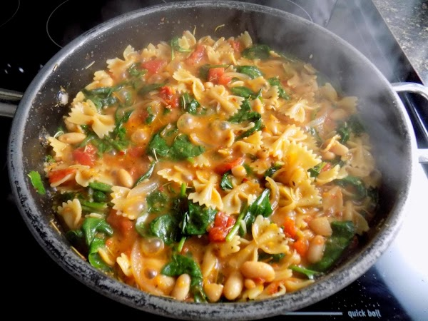 Add pasta & cook 14-15 min.  Stir in spinach & continue cooking (2-3...