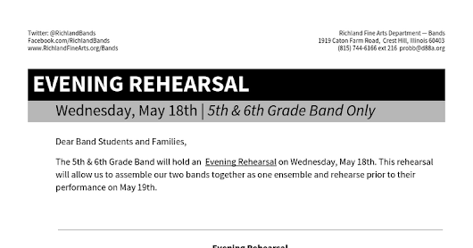 Evening Rehearsal: 5th & 6th Band May 18th 2016 - Google Docs