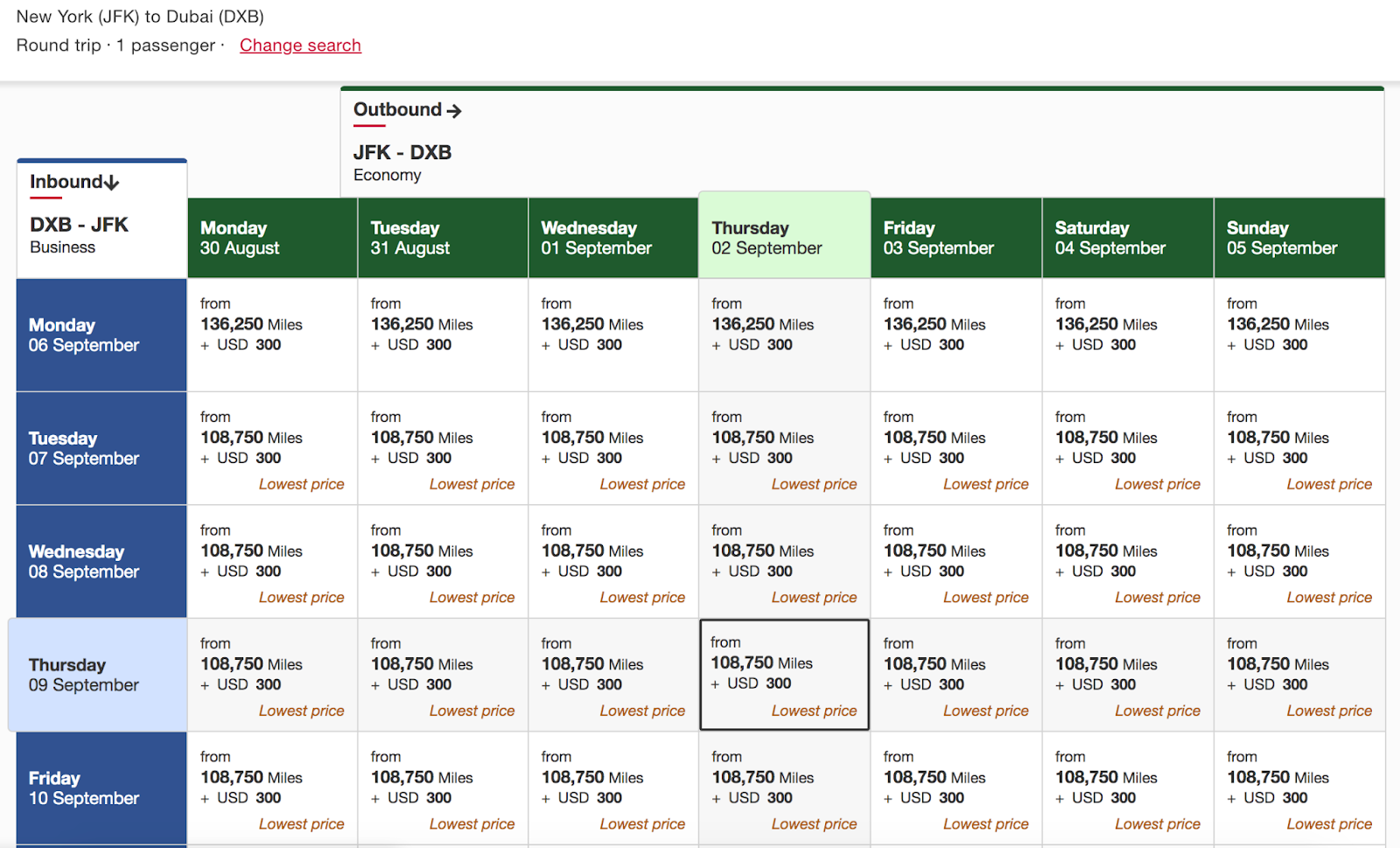 Business class round-trip itinerary