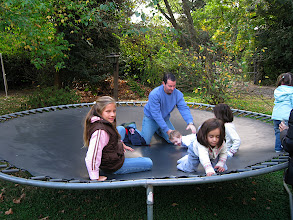 Photo: Axel and the kids on a trampoline