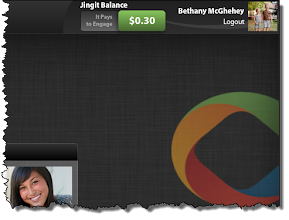 Photo: The area in the top right-hand corner keeps a running total of your Jingit Balance and your login status.