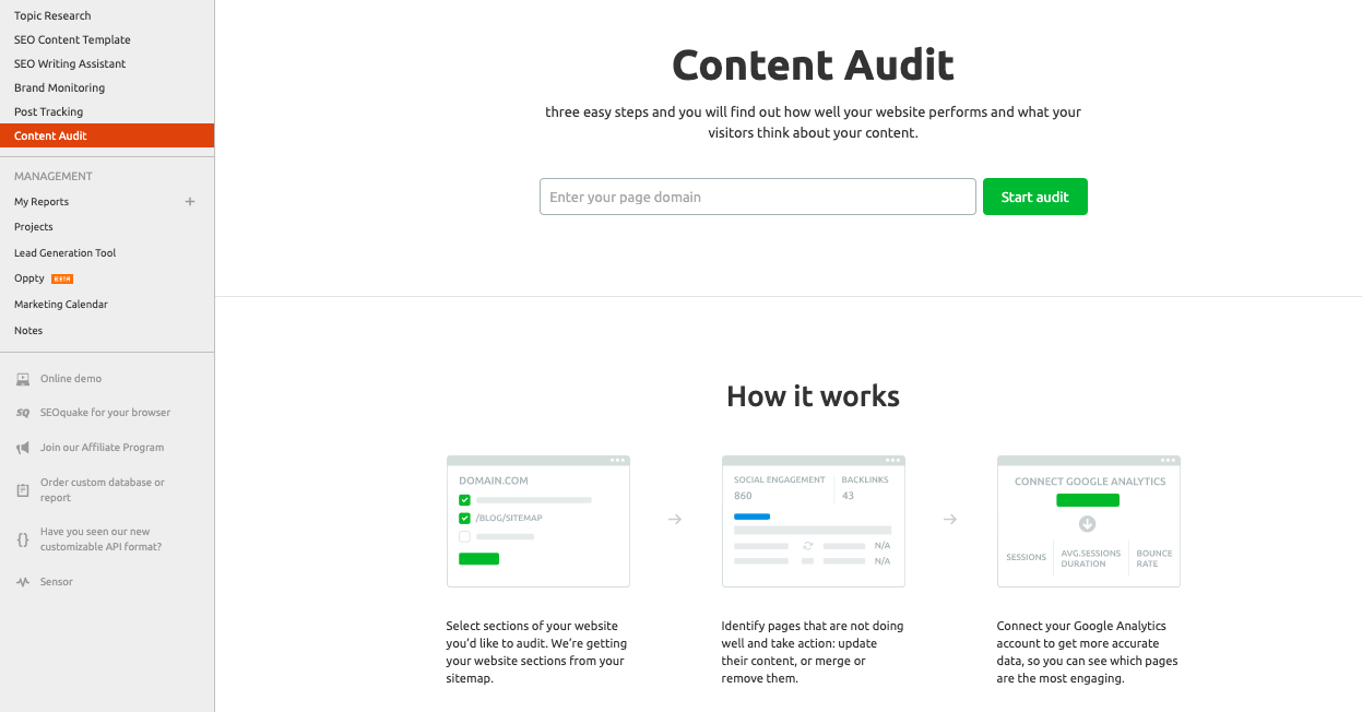 Content audit semrush