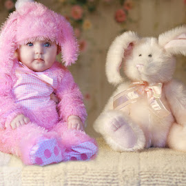 Bunny One and Bunny Two by Sandra Hilton Wagner - Babies & Children Child Portraits ( stuffed bunny, child, girl, female, costume, pink, baby, portrait )