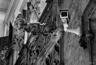 """Photo: """"Modern Gargoyles"""" Palau de la Generalitat - Barcelona I've always thought that the medieval gargoyles seemed intended intimidating. Today some camcorders, located in very questionable places, seem to have the same purpose. :)) #breakfastclub by +Gemma Costa #plusphotoextract by +Jarek Klimek"""