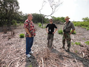 Photo: Tom Penders, Dr. Timothy Parsons and Grayal Farr discussing strategies for testing at Patrick Air Force Base (all FSU Anthropology alumni).