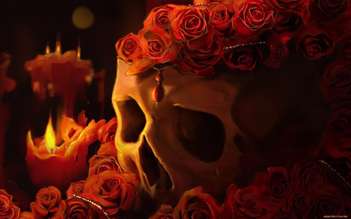 Black Rose And Skull Wallpaper Skull Amp Roses Live Wallpaper