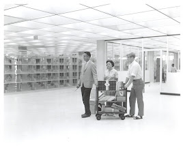 Photo: first truck of books brought into the new Howard-Tilton, 1968