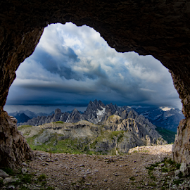 Dolomites Summer Storm by Steve Rogers - Landscapes Cloud Formations ( dolomites, mountains, alps, storm, cave, grotto, cloudscape, italian, clouds, peaks, italy, tre cime )