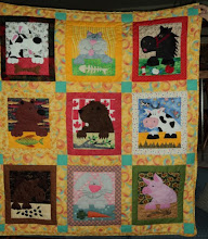 Photo: Munch A Bunch wall hanging by Linda Hoiko, Pickering Ontario - fun, fun, fun. Linda choose her background fabrics to match the animals-sunflowers behind the pig, Canadian flag behind the beaver, fish behind the bear etc.