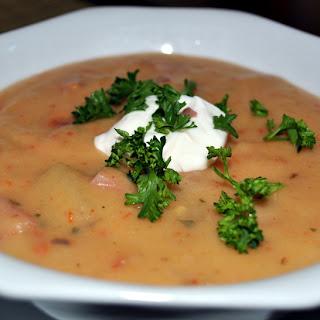 Potato Soup with Sun Dried Tomato and Ham.