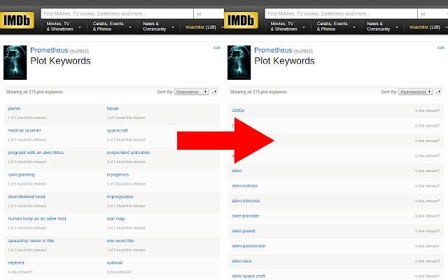 IMDb Plot Keywords Sorter