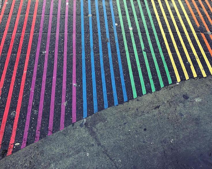 Artisanal pic of the rainbow crosswalk in the Castro.