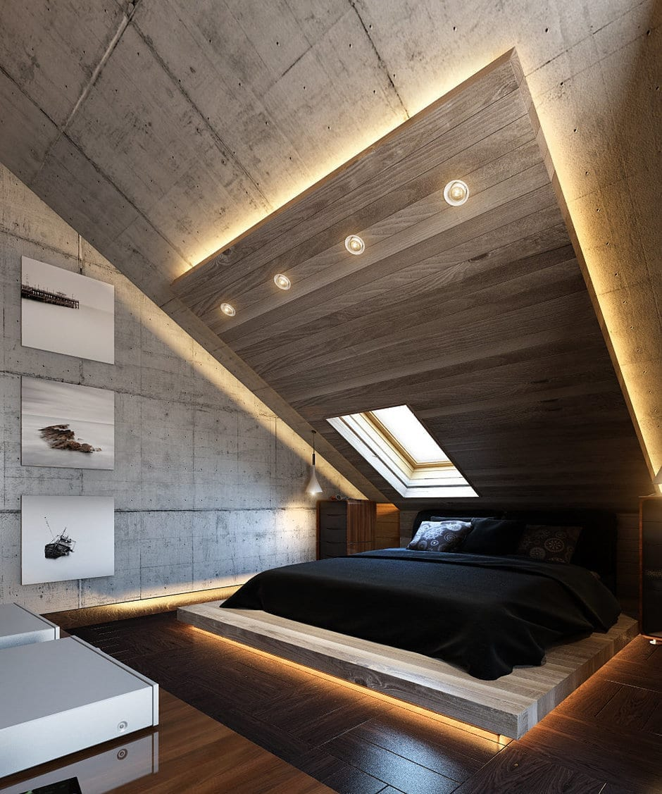Led Light Attic Bedroom Design