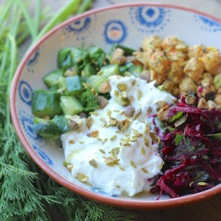 Savory Yogurt with Beets, Cucumbers and Chickpeas
