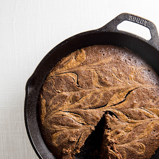 Cast Iron Almond Butter Swirl Brownie