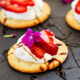 Strawberry Bites with Goat Cheese Mousse and Balsamic Glaze.
