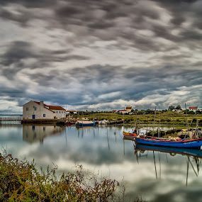 Mirror nature by Emanuel Fernandes - Landscapes Waterscapes ( clouds, water, color, blue, cky, portugal, boat )