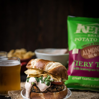 Fiery Thai Kettle Brand Chips and Sweet Potato Burgers with Beer Sweet Chili Cream Sauce.