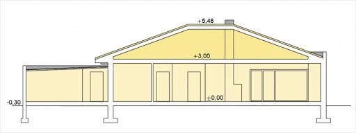 Alabama wersja D z podwójnym garażem - Przekrój