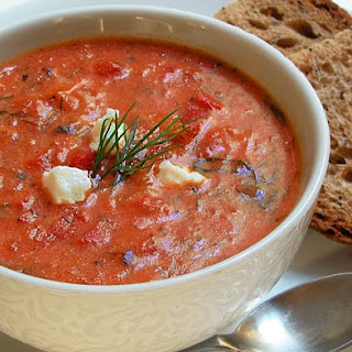 Easy Chunky Tomato Soup with Goat Cheese