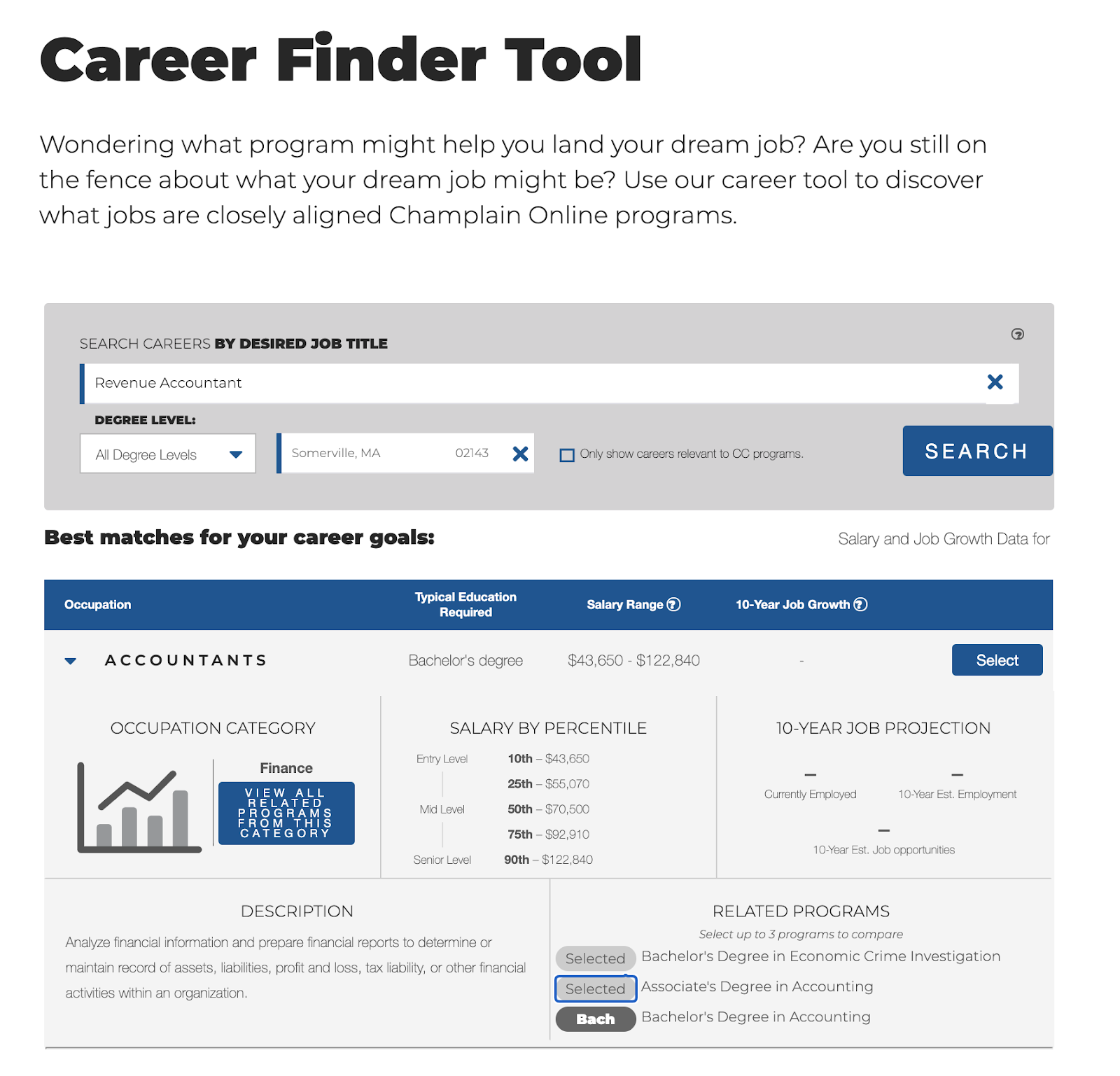 The Champlain College Online Career Finder