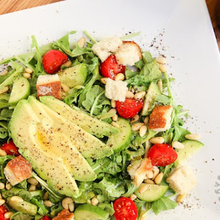 Arugula, Avocado, Tomato and Pine Nut Salad (vegan, gluten-free).