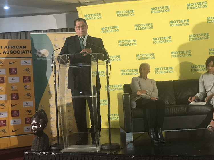 SA Football Association (Safa) president Danny Jordaan speaks to the media during the launch of the ABC Motsepe League launch for the national playoffs at Safa House in Soweto on Wednesday May 9 2018.