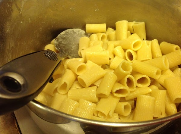 Cook pasta Al Dente about 2-3 minutes  under recommended time listed on package,...