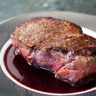 Filet Mignon with Red Wine Sauce.
