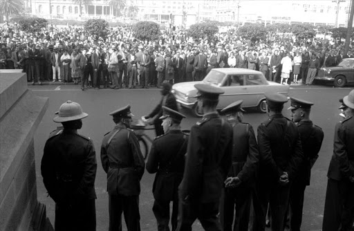 Crowds outside the court at the Rivonia Trial, which began in October 1963. The ANC used the case to attract international attention to its cause.