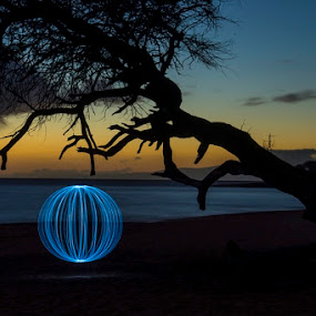 on the beach after dark by Stephen  Barker - Abstract Light Painting