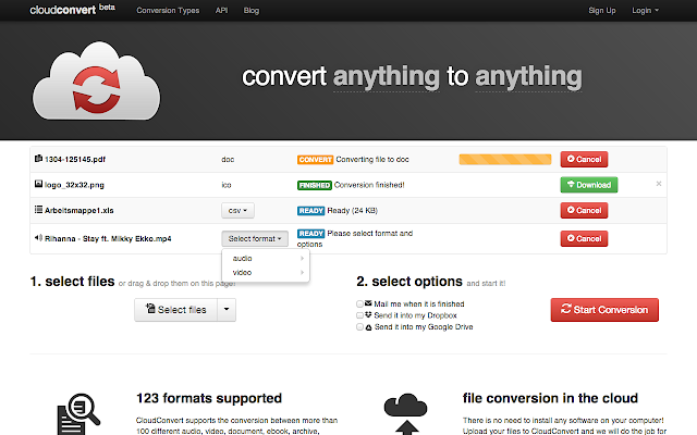 Cloudconvert chrome web store convert anything to anything fandeluxe Choice Image