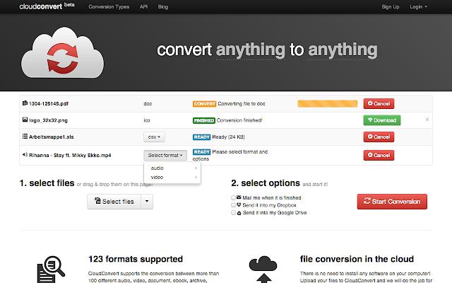 Cloudconvert chrome web store fandeluxe Image collections