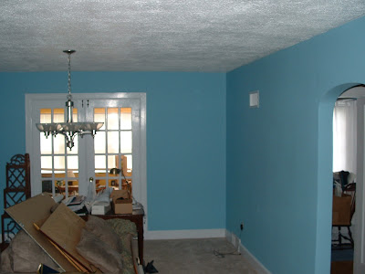 After: Dining room painted blue